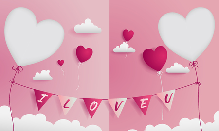 Valentine greeting card has 2 die-cuts on left and right for a sweet couple.Card contain flags are representing I LOVE U hanging by red string and heart balloons are flowing through the cloud.