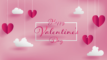 Valentines day of craft paper design, contain pink hearts and clouds are holding by sting on top, soft pink background feel like fluffy in the air, Happy Valentines Day text in middle with white border