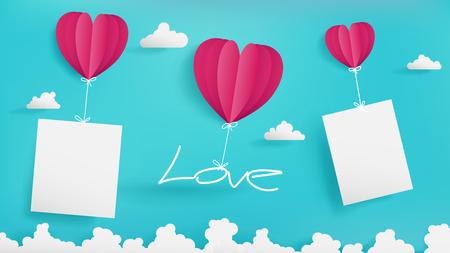 バレンタインデーのアートワークを含む 3 つ風船、青い空を背景、写真やちょっとしたメモなど空のペーパーのモックアップを保持している 2 1 つ保