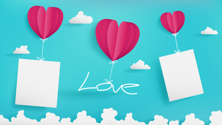 Valentines Day artwork contain three balloons,blue sky background,one holding Love latter,two holding mock up of empty papers such as photo or short note is a model of it which is proper in that work. Illustration
