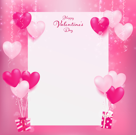 white empty paper for sweet decoration, heart decors hang on top and balloon hearts holding sweet gifts on bottom ,artwork contain pastel colors and magic shapes are dropping from decor objects. Vettoriali
