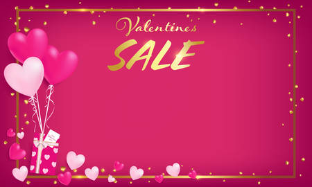 pink board with gold border and valentine's day sale text ,golden heart glitter drop beside border ,balloons tie to gift box, artwork usage in advertising decorative or cerebrate invitation. Foto de archivo - 92680672