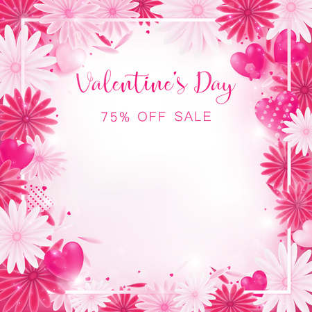 valentine floral invitation is decorate in red and pink color as flower blooming, border is pearl pink along with petals are dropped on beside , usage in advertising decorative or cerebrate invitation. Foto de archivo - 92884832