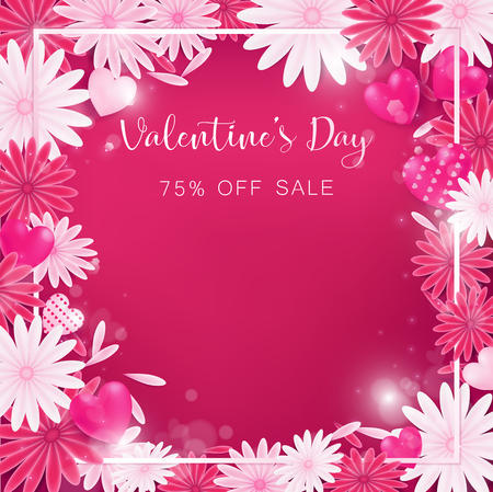 valentine floral invitation is decorate in red and pink color as flower blooming, border is pearl pink along with petals are dropped on beside , usage in advertising decorative or cerebrate invitation Illustration