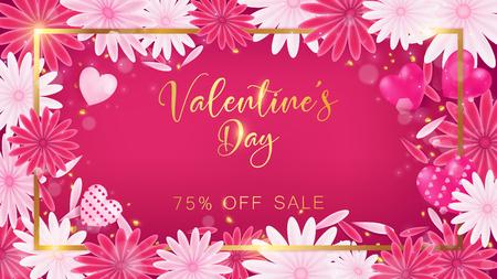 Las tarjetas del día de San Valentín juntan con la frontera del oro y el texto del día del `s de la tarjeta del día de San Valentín, gota de oro del brillo del corazón al lado del tablero, globos ata a la caja de regalo, uso de las ilustraciones en la invitación decorativa o cerebrate de la publicidad. Foto de archivo - 93068200
