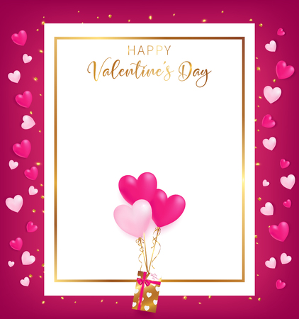 white space board with gold border and happy valentine's day text ,golden heart glitter drop beside board ,balloons tie to gift box,  artwork usage in advertising decorative or cerebrate invitation. Foto de archivo - 93081662