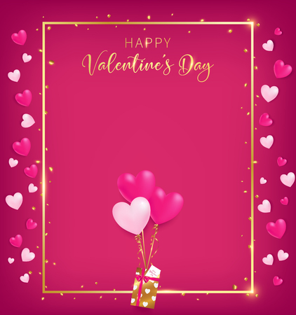 Valentines board with gold border and happy valentine`s day text ,golden heart glitter drop beside board ,balloons tie to gift box, artwork usage in advertising decorative or cerebrate invitation.
