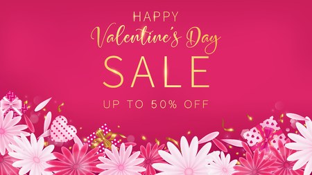 Valentine's Day Sale red magenta banner as sweet tone color included floral ,gift box and heart decoration, free space as middle with white background ,composition is top view arrangement at bottom Foto de archivo - 93366388