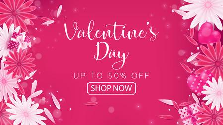 Banner de magenta vermelho de venda do dia dos namorados como cor de Tom doce incluído floral, caixa de presente e decoração de coração, composição é arranjo de vista superior à esquerda e direita Foto de archivo - 93366408