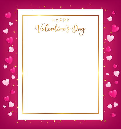 White space board with gold border and happy valentines day text ,golden heart glitter drop beside board ,artwork usage in advertising decorative or cerebrate invitation. 向量圖像