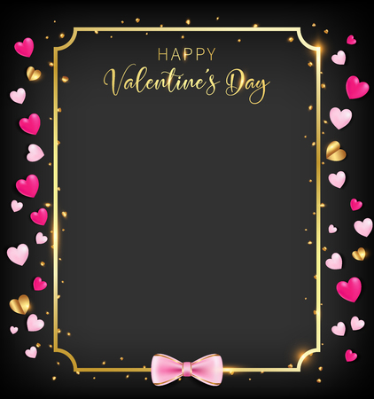 A black valentine day banner included heart glitter ,border and happy valentines day as golden shade, artwork leave some copy space, bottom have a pink bow. golden elements are reflected gold flare 向量圖像