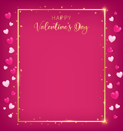 A red valentines board with gold border and happy valentine`s day text ,golden heart glitter drop beside board, artwork usage in advertising decorative or cerebrate invitation, free space on the middle Foto de archivo - 93529509