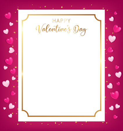 Happy Valentines Day banner conception as top view position along with heart decor beside boarder and some confetti on ground ,artwork usage in advertising decorative or celebrate for special offer 向量圖像