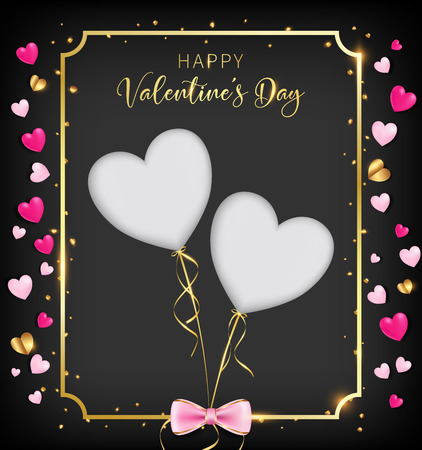 black valentine day banner included heart glitter ,border and happy valentine's day as golden shade, two die cut hearts on the middle, bottom have a pink bow. golden elements are reflected gold flare