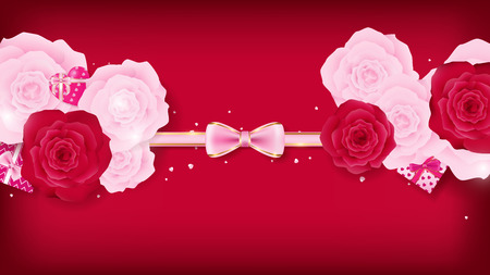 top view valentine floral invitation rounding by pink and red roses, artwork has some copy space on top and bottom as red background ,pink ribbon bow on the middle