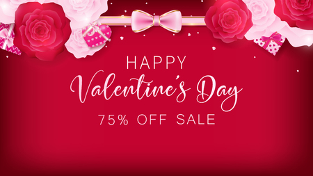 Valentines banner contains red background, White and red rose, ribbon gifts and happy valentines day text on the middle. Use in advertising decorative or cerebrate invitation.