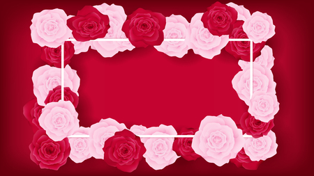 Top view sweet invitation decorate in red background. Beside border along with pink and red rose, middle leave some copy space recommended in white text. Artwork usage in celebration or event. 向量圖像