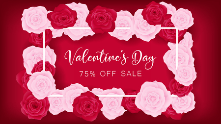 Top view valentines day invitation decorate in red background. Beside border along with pink and red rose, middle contain white valentines day discounting text. Artwork usage in celebration or event.