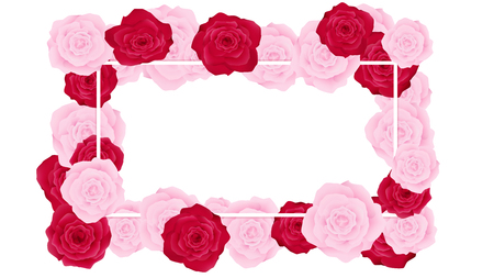 Top view valentine floral invitation rounding by pink and red roses. Artwork has some copy space in middle as white background. All elements are fill pastel color.