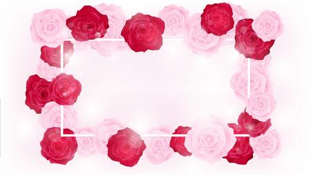La vista superior aísla el redondeo floral de la invitación de la tarjeta del día de San Valentín por las rosas rosadas y rojas. Las ilustraciones tienen algún espacio de copia en medio como fondo blanco. Todos los elementos son de color pastel relleno, blanco flare junto con rosa. Foto de archivo - 94117325
