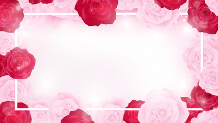 Top view valentine floral invitation rounding by pink and red roses. Artwork has some copy space in middle as white background. All elements are fill sweet pink tone color.