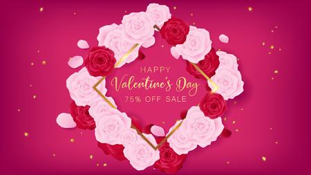 Amor dia dos namorados quadrado modelo incluído texto feliz dia dos namorados de ouro e borda. Floral é arranjado pela rosa e rosa vermelha rosa junto com o brilho do coração de ouro sobre o fundo rosa. Foto de archivo - 94581948