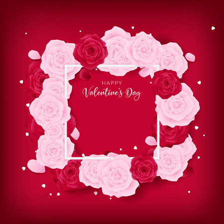 Top view love Valentines day square template included white happy valentines day text and border. Floral is arranged by pink rose and red rose along with white heart glitter on the red background. 向量圖像