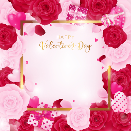 Top view love valentines day square template included golden border and happy Valentines day text. Floral is arranged by rose flower and hearts along with white heart glitter on the white background. 向量圖像