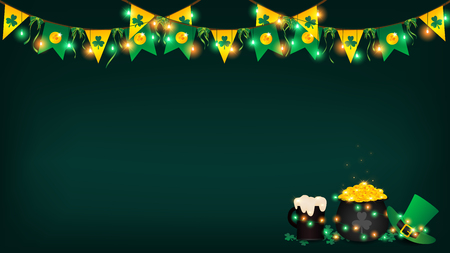 Saint Patrick festival background contain dark green ,green and yellow fairy light on top along with symbol flag. a glass of beer ,a green top hat and a pot full of golden coin on right bottom 向量圖像