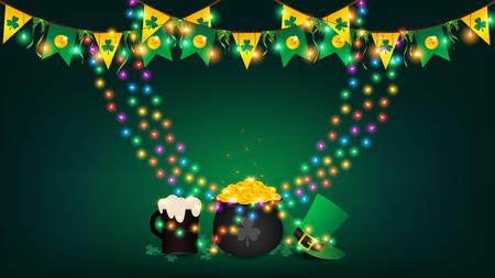 Saint Patricks Day background contains rainbow fairy lights tie up around a pot of gold coin, top hanging bunting and holding string lights, beer and green top hat be side a black pot over shamrock