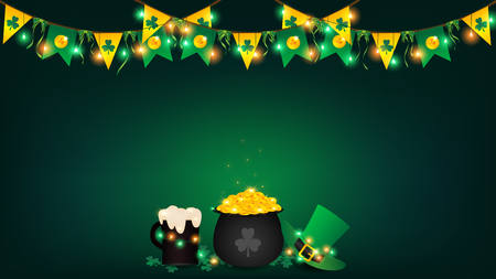 Saint Patricks Day background contains fairy lights tie up around a pot of gold coin, top hanging bunting and holding string lights, beer and green top hat be side a black pot over shamrock