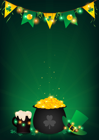 St. Patricks Day vertical background. Contains fairy lights tie up around a pot of gold coin. Top hanging bunting and holding string lights, beer and green top hat beside a black pot over shamrock. Illustration