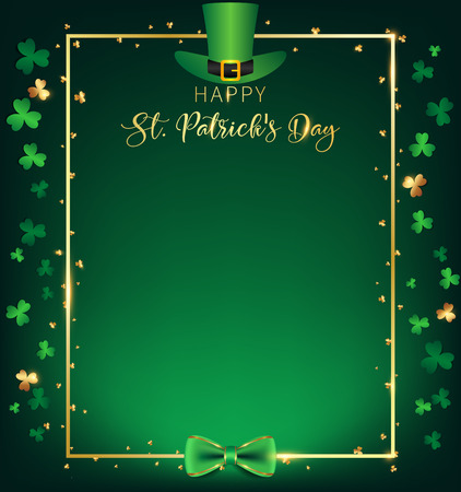 St. Patricks Day vertical frame contain green top hat over golden border ,shamrock along with border ,dark green background and golden text, free space on the middle as green tone of single spotlight