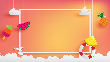 summer banner as horizontal frame contain white border ,sunset light shining on background and all objects floating over cloud, objects are hanging by string such as ice cream, pineapple, watermelon