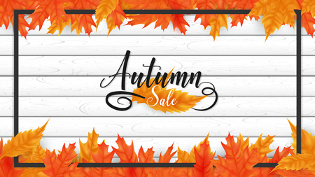 White plank boards are sorting on horizontal side decorate in fall leaves top and bottom ,rounding by black border ,on the middle included autumn text lettering style