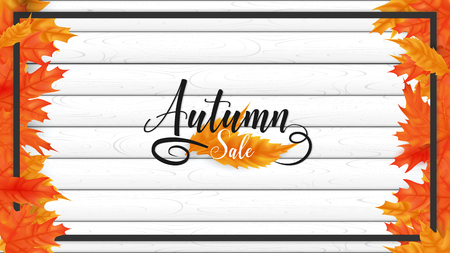 White plank boards are sorting on horizontal side decorate in fall leaves left and right ,rounding by black border ,on the middle included autumn text lettering style