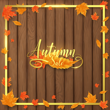 luxury autumn background decorate in golden text and border along with leaves beside border ,all golden shade contains flare look more realistic 向量圖像