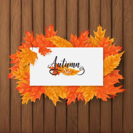 Autumn sale square background included a white board rounding by multiple leaves over the brown plank wood ,middle put a text of autumn theme