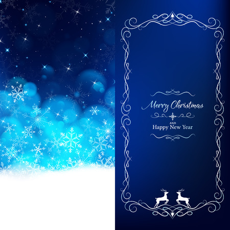 Blue Christmas card divide 2 pages such as white snowflakes dropping and light blue bokeh fade out to top,flares and glitter on top look clearly night sky,on right put luxury border and lettering text