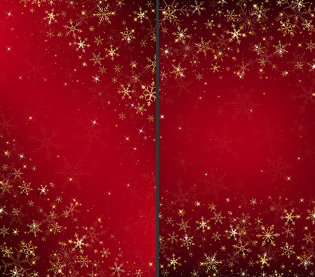 Christmas card background dressed by gold snowflakes and glitter have some free space on the middle.