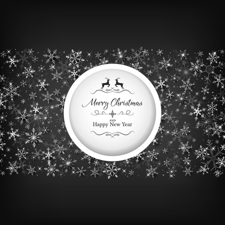 Black Christmas template included die-cut on middle and white snowflake 向量圖像