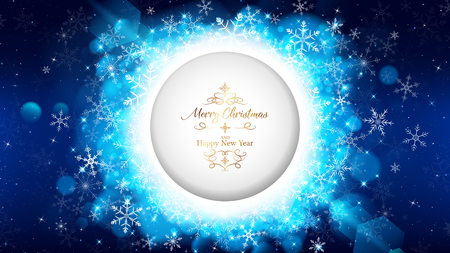 blue Christmas card template has circle die-cut on the middle included gold lettering.Circle rounding by white snowflakes are spreading out of middle along with blue bokeh and shining ray light.
