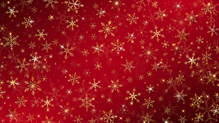 Christmas background dressed by gold snowflakes and glitter