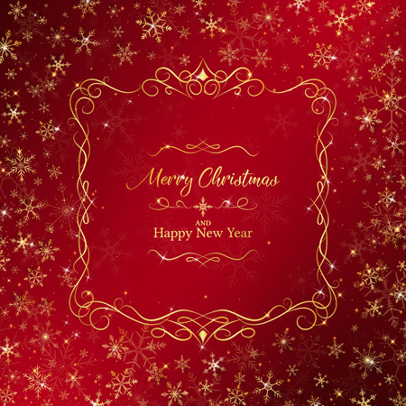 Christmas background rounding by golden snowflakes and luxury border middle included merry christmas and happy new year lettering 向量圖像