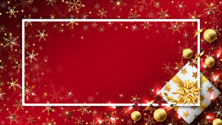 Christmas luxury background with gift box decorated in golden elements such as string lights,balls and glitters 向量圖像