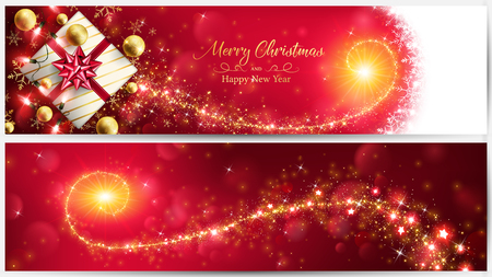 Christmas red banner with golden magic stardust through the gift box and included ornaments such as string lights ,balls and bokeh