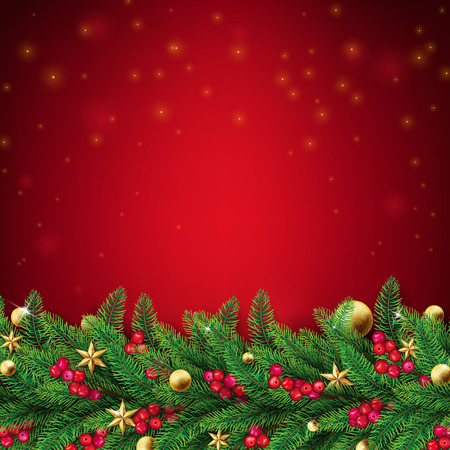 Christmas red background with fir branches and ornaments such as stars,balls and red berries.Top dropping fairy flare