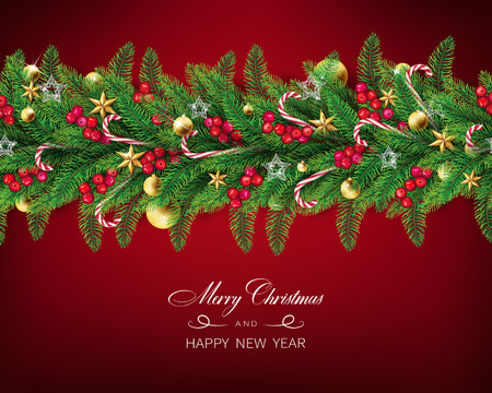 semi realistic Christmas garland with clear red background arranged in horizontal line.