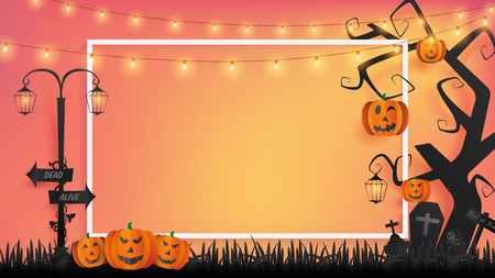 paper craft of Halloween background represents sunset with semi silhouette of cemetery place and included fairy lights, white border and empty area in the middle