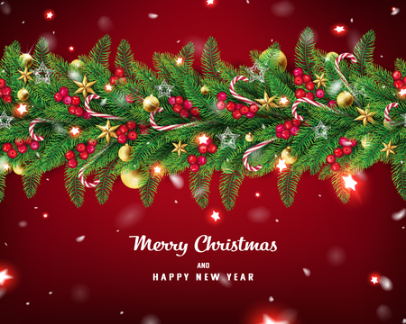 Christmas Garland background with snow and red glowing star are falling slowly in red background